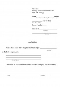 Application for practical training