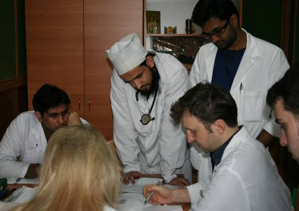 International students at practical class in Cardiology